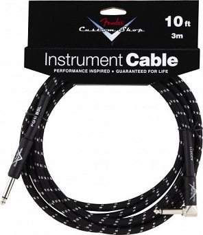 Fender® Custom Shop Performance Series Cable, 10', Black, Angled